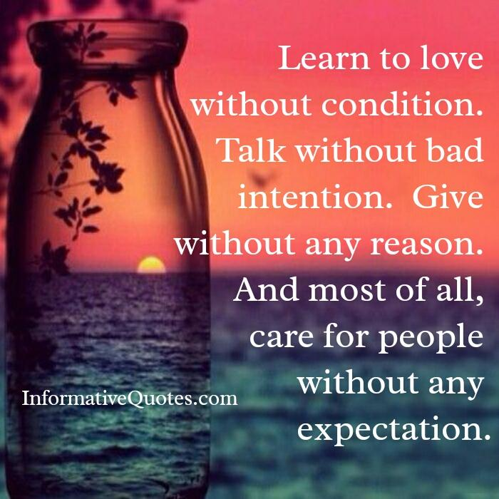 Care for people without any expectation