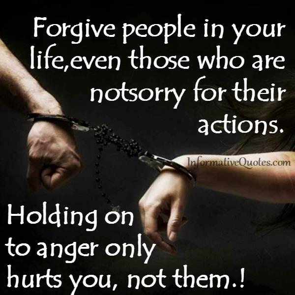 Holding on to anger only hurts you, not them