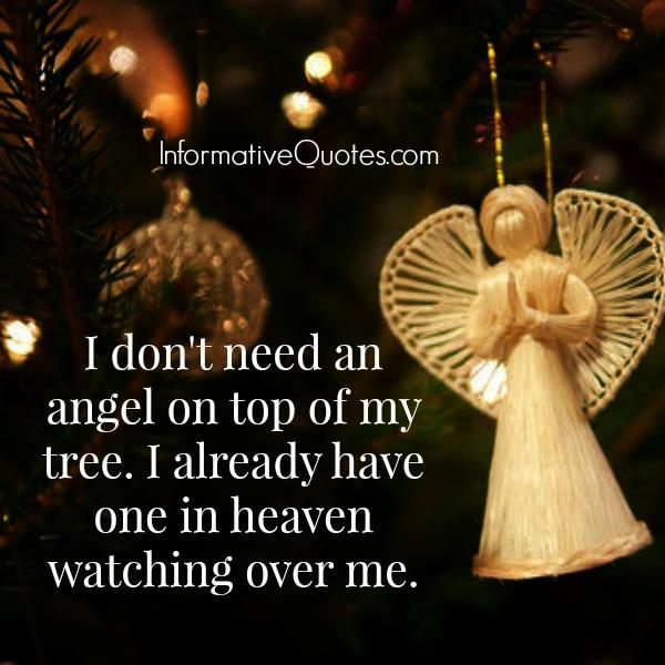 I don't need an angel on top of my tree