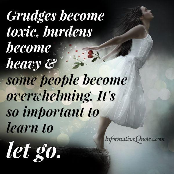 It's important to learn how to let go