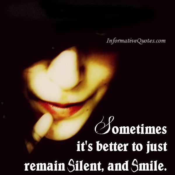 Sometimes it's better to just remain silent