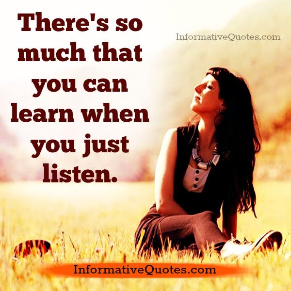 When you just listen to someone