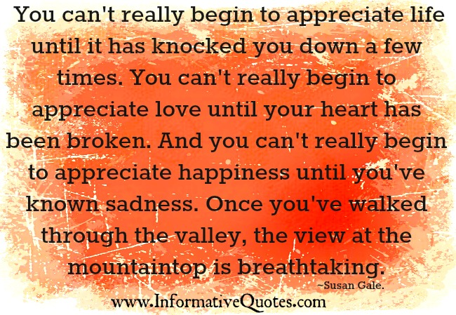 You can't really begin to appreciate love until your heart has been broken